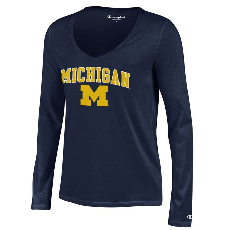 Michigan Wolverines Womens VNeck Long Sleeve TShirt Navy APC03050449
