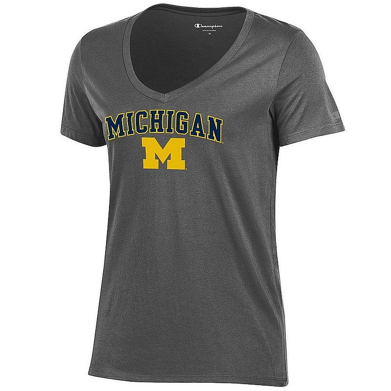 Michigan Wolverines Womens VNeck TShirt Charcoal apc03050457