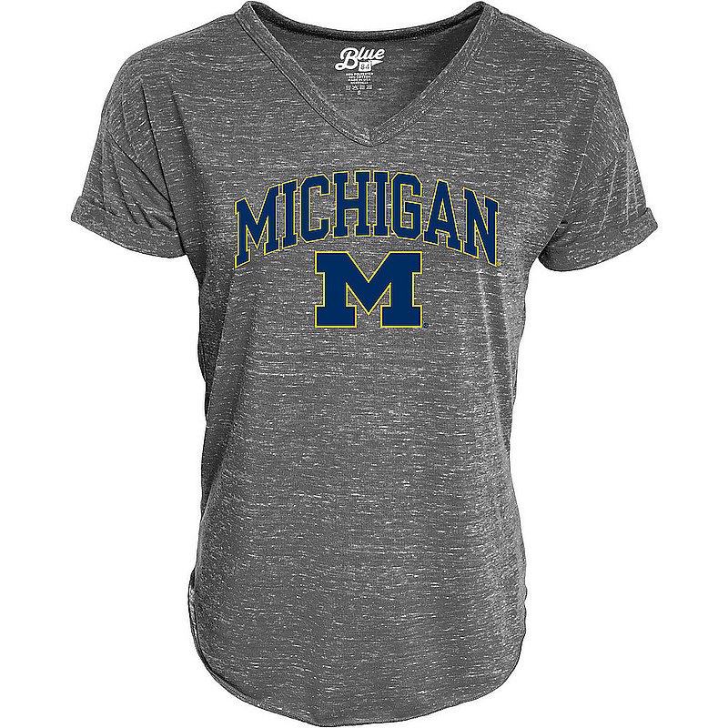 Michigan Wolverines Womens Vneck TShirt Charcoal C7JB-JCNRV