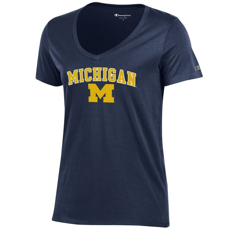 Michigan Wolverines Womens VNeck TShirt Navy APC03050449