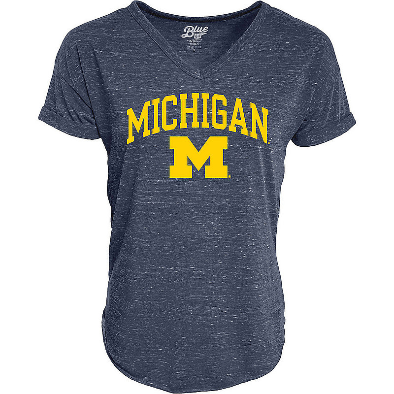Michigan Wolverines Womens Vneck TShirt Navy C7JB-JCNRV