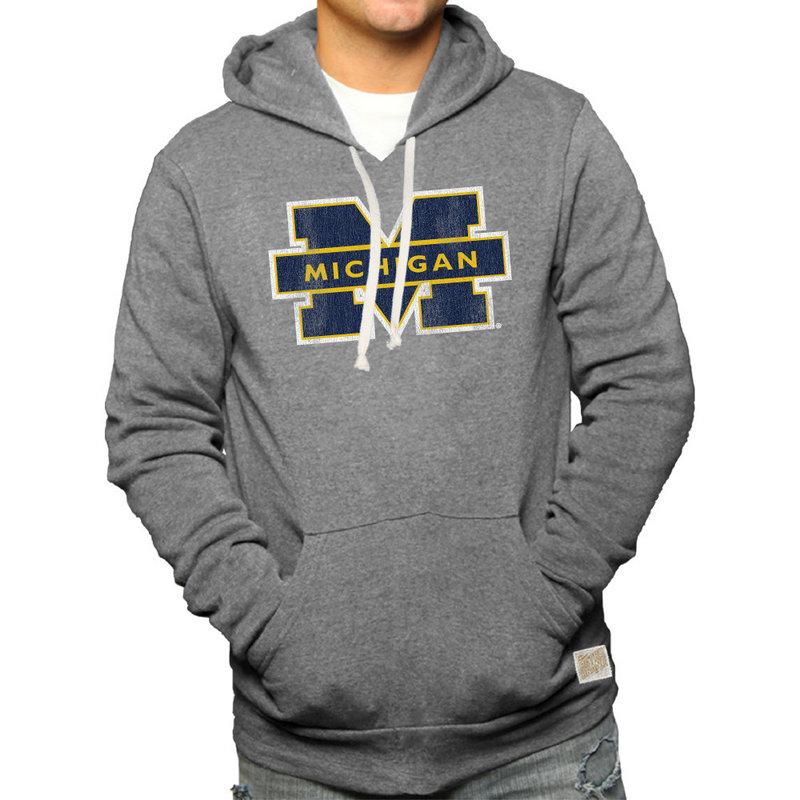 Mighigan Wolverines Retro Hooded Sweatshirt Gray RB6090_CMIC100A_GYF
