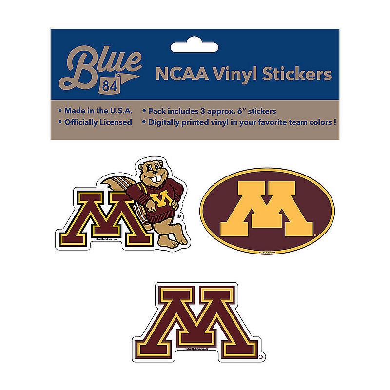 "Minnesota Golden Gophers 6"" Vinyl Decal 3-Pack"