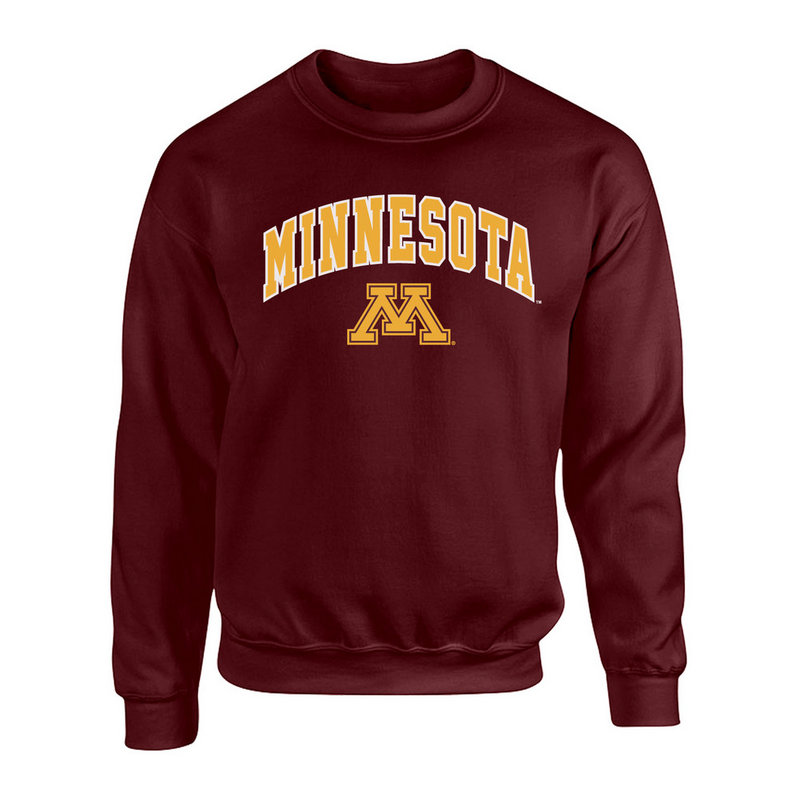 Minnesota Golden Gophers Crewneck Sweatshirt Arch Maroon P0006432