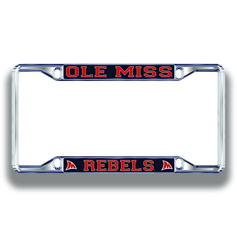 Mississippi Ole Miss Rebels License Plate Frame Silver 24352