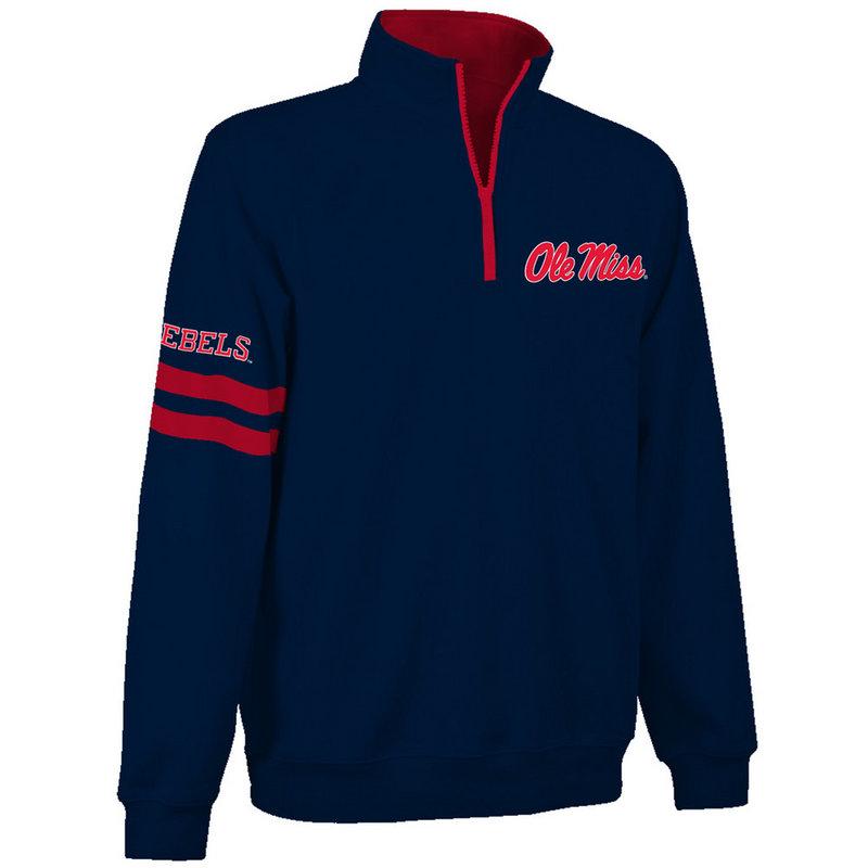 Mississippi Ole Miss Rebels Quarter Zip Sweatshirt Navy MSS9A680