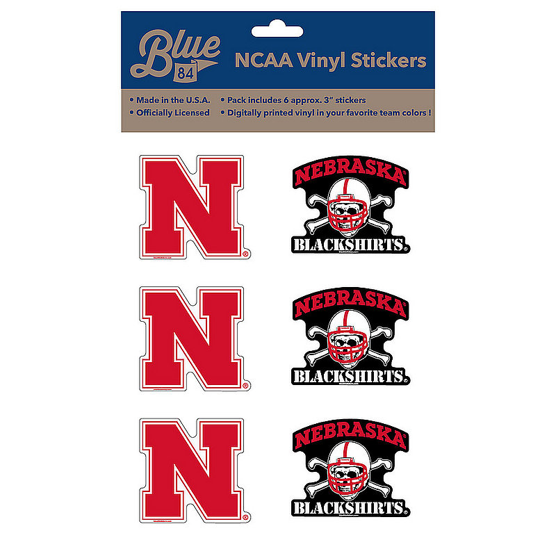 "Nebraska Cornhuskers 3"" Vinyl Decal 6-Pack"