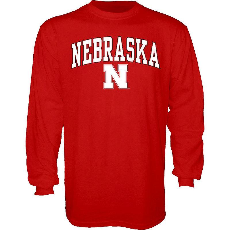 Nebraska Cornhuskers Long Sleeve Tshirt Varsity Red Arch Over APC02886088*