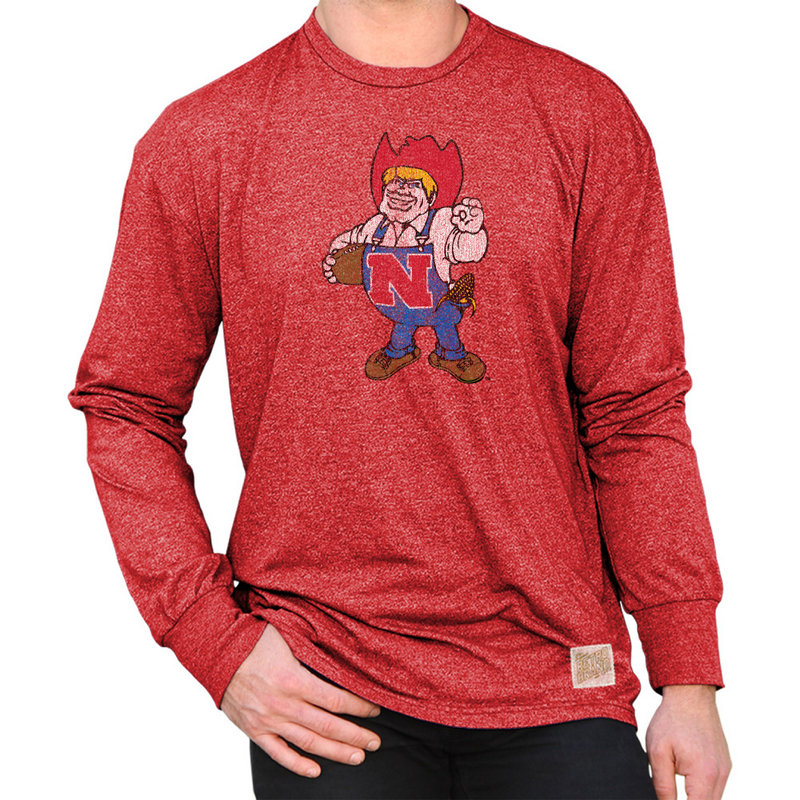 Nebraska Cornhuskers Retro Long Sleeve TShirt Scarlet NEB005R4A