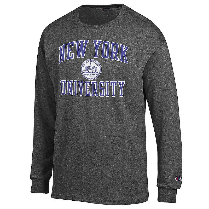 New York University Violets Long Sleeve TShirt Seal Charcoal APC02974600