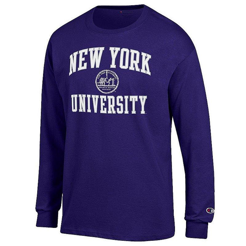 New York University Violets Long Sleeve TShirt Seal Purple APC02964262