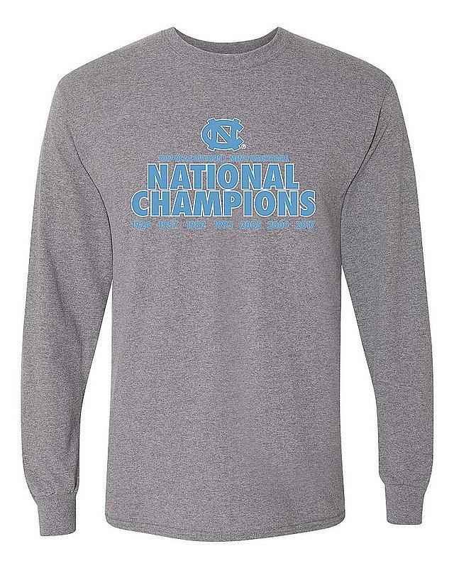 751ff548e North Carolina Tar Heels 2017 National Basketball Champs Long Sleeve Tshirt  Gray P0007634