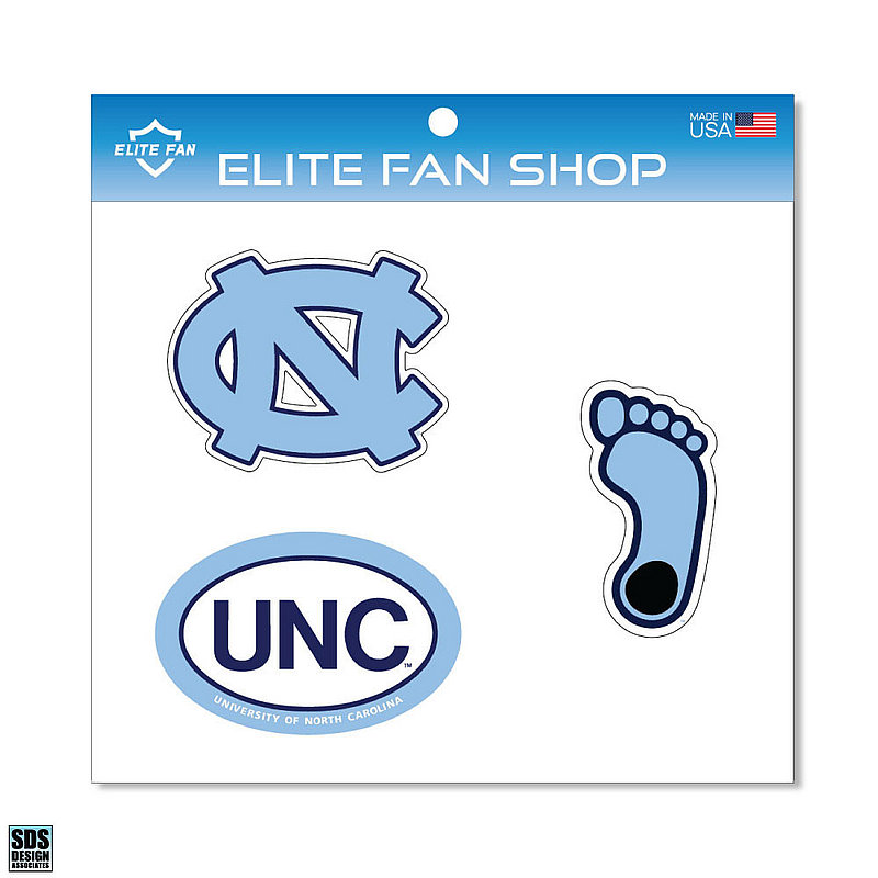 "North Carolina Tar Heels 6"" Vinyl Decal 3-Pack DNC01"