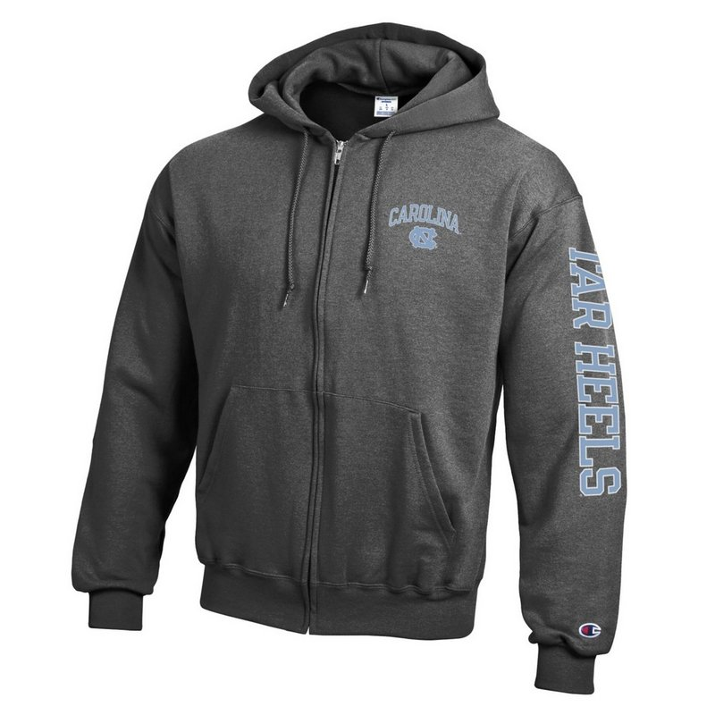 North Carolina Tar Heels Full Zip Sweatshirt Letterman Charcoal APC02954288/APC02954290