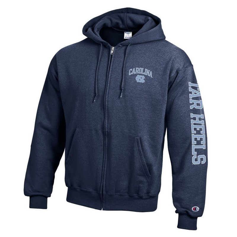 North Carolina Tar Heels Full Zip Sweatshirt Letterman Navy APC02954288/APC02954290