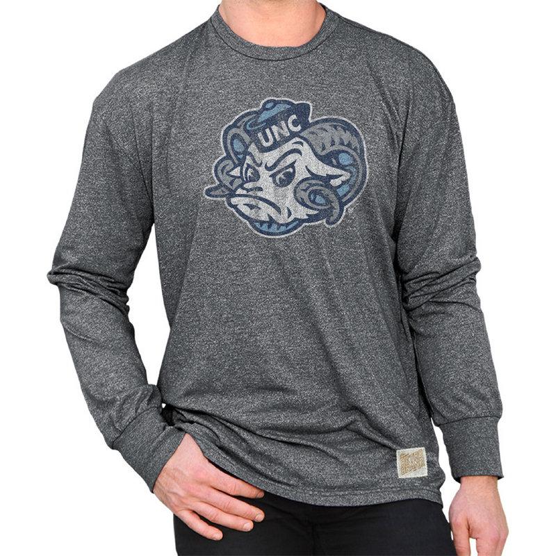 North Carolina Tar Heels Retro Long Sleeve TShirt Charcoal NCA005S2A_MTCH