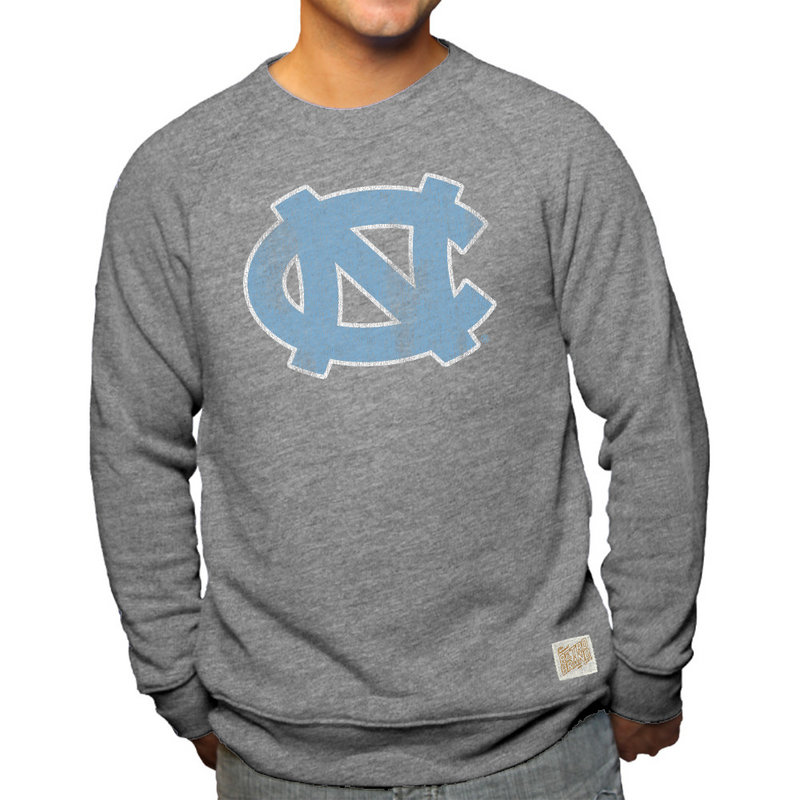 North Carolina Tar Heels Retro TriBlend Crewneck Sweatshirt Gray CNCA047B