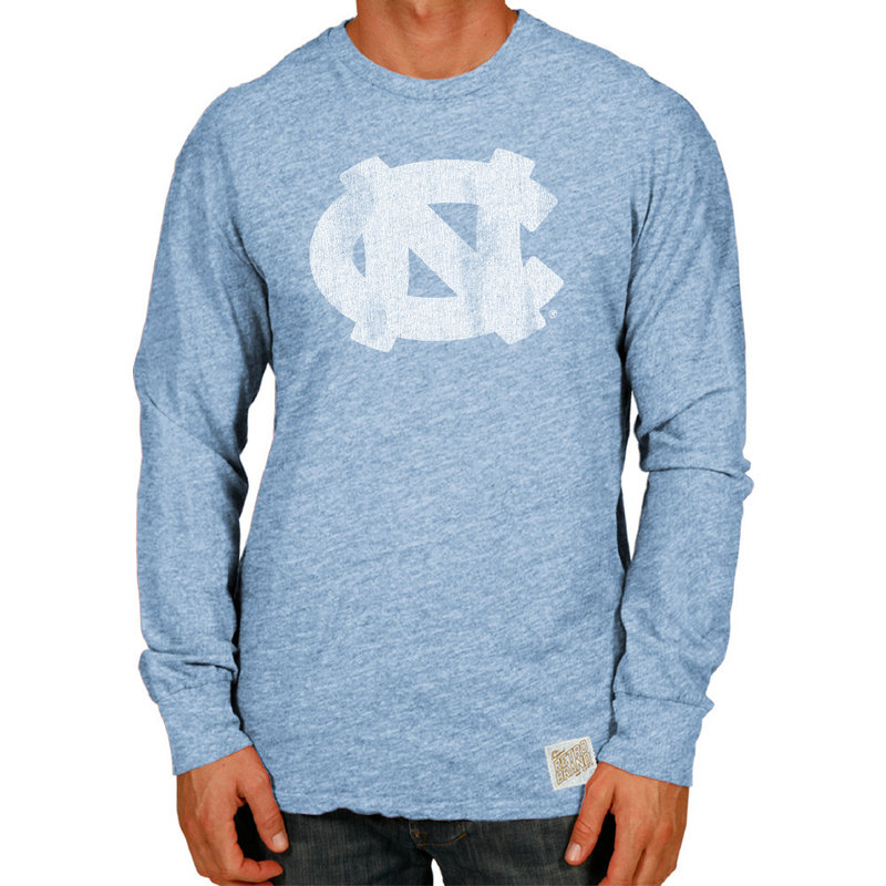 North Carolina Tar Heels Retro TriBlend Long Sleeve Tshirt Blue CNCA027A
