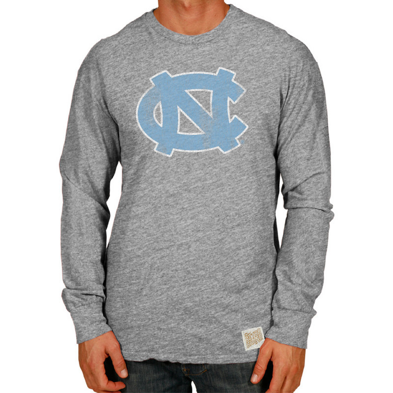North Carolina Tar Heels Retro TriBlend Long Sleeve Tshirt Gray CNCA047B
