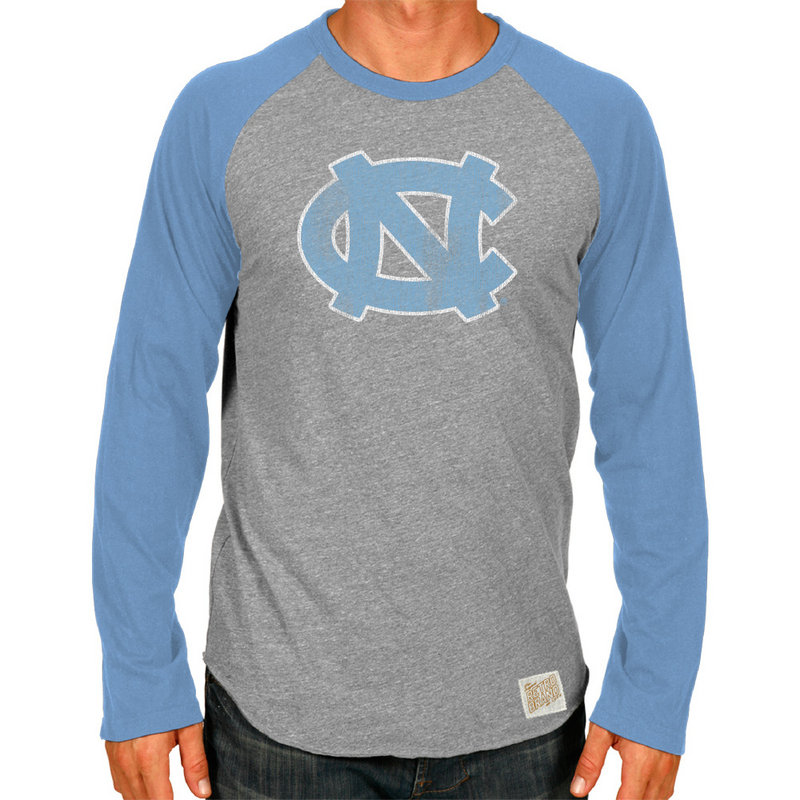North Carolina Tar Heels Retro TriBlend Long Sleeve Tshirt Raglan Gray CNCA047B