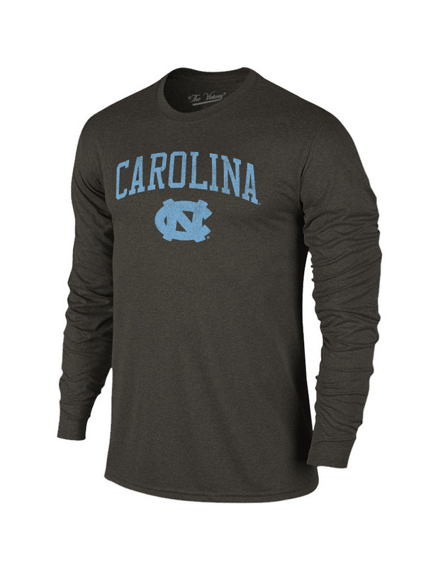 North Carolina Tar Heels Vintage Long Sleeve Tshirt Charcoal Victory TV402_NCAV1412B_HBK