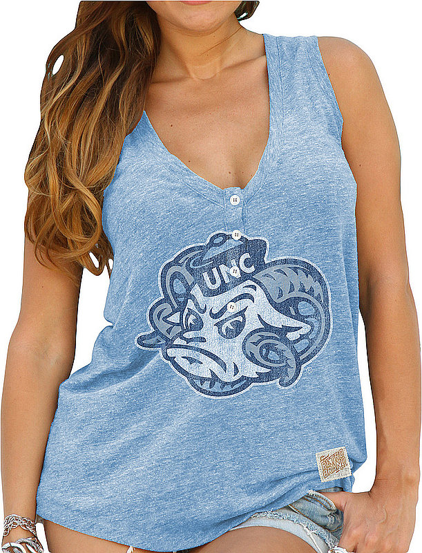 North Carolina Tar Heels Womens Relaxed Henley Tank Top NCA500S2S_RB1710M_SBL