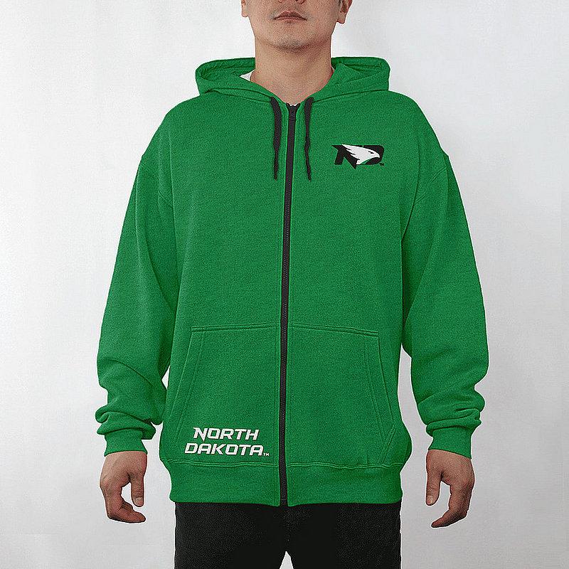 North Dakota Fighting Hawks Full Zip Hooded Sweatshirt Captain Green NDK29704