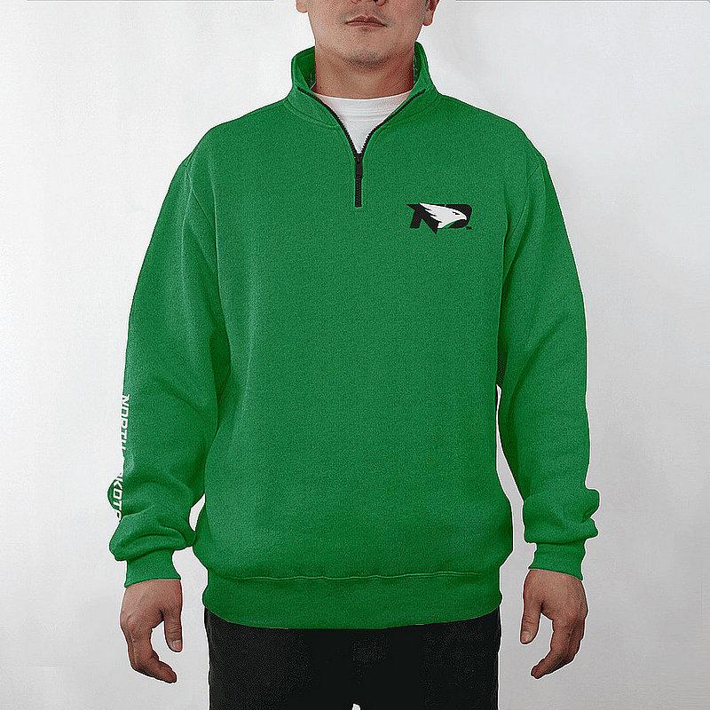 North Dakota Fighting Hawks Quarter Zip Sweatshirt Captain Green NDK9A701