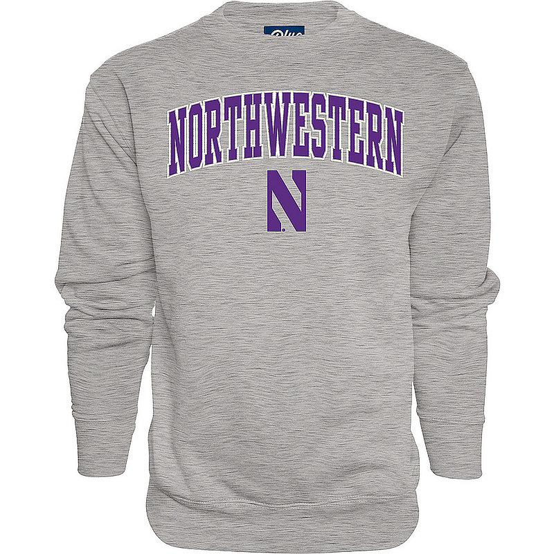 Northwestern Wildcats Crewneck Sweatshirt Varsity Charcoal Arch Over APC02964266*