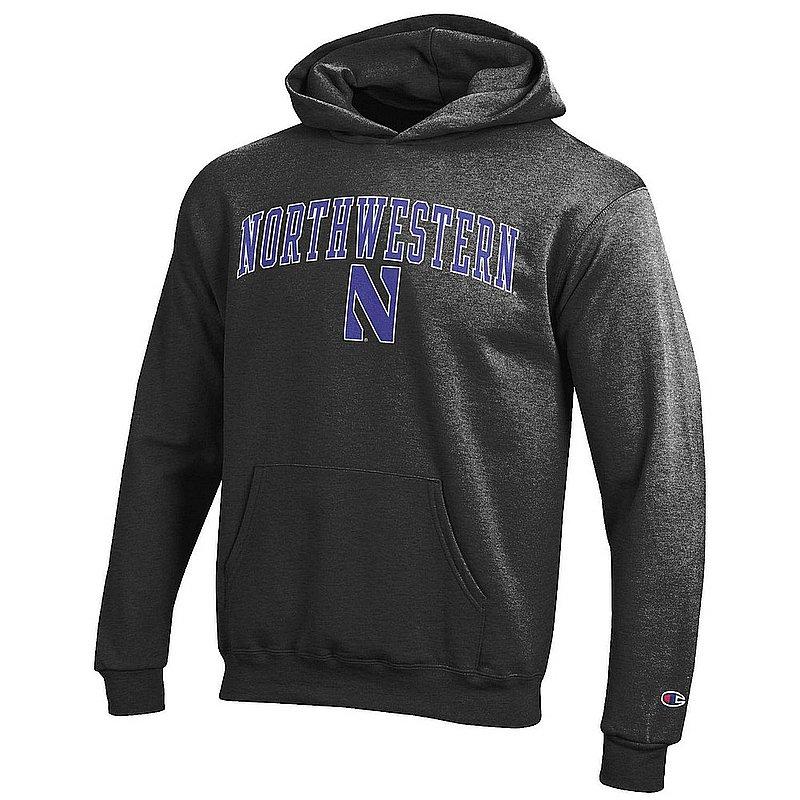 Northwestern Wildcats Kids Hooded Sweatshirt Arch Charcoal APC03009002