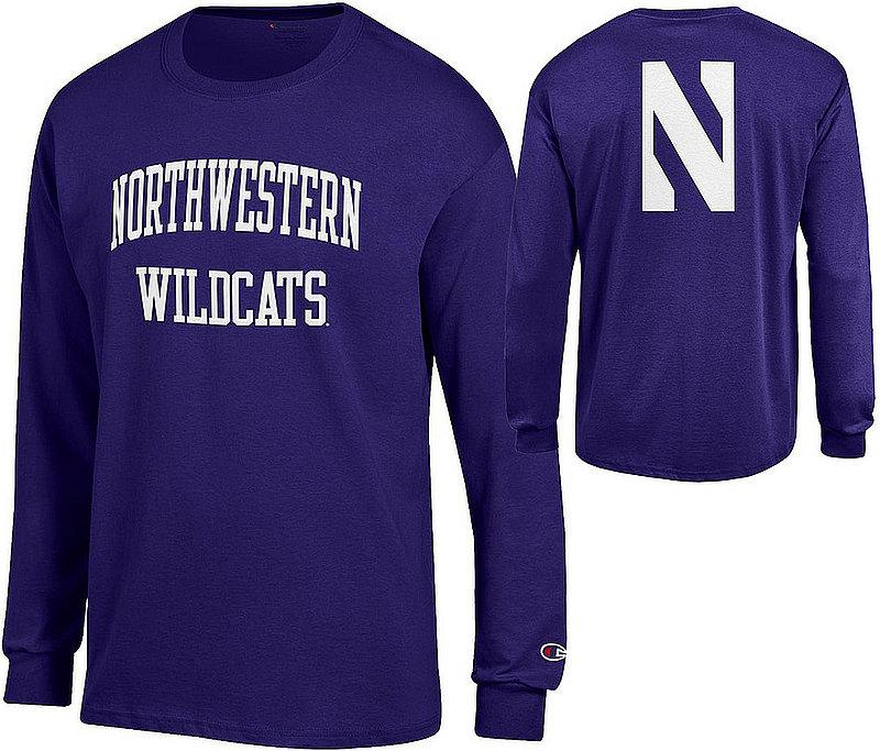 Northwestern Wildcats Long Sleeve Tshirt Back Purple APC03009481/APC03009483