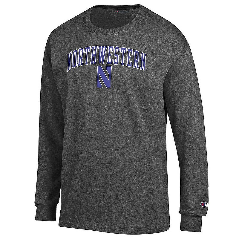 Northwestern Wildcats Long Sleeve TShirt Varsity Charcoal Arch Over APC02964266*/00000000BMR6F