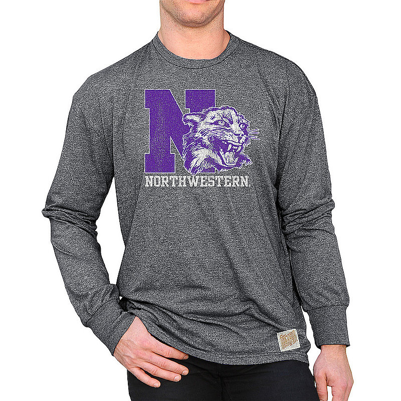 Northwestern Wildcats Retro Long Sleeve Tshirt Charcoal CNWU100C_RB424M_MTCH