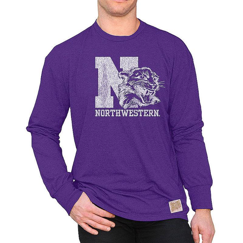 Northwestern Wildcats Retro Long Sleeve Tshirt Purple CNWU100A_RB424M_MTPU