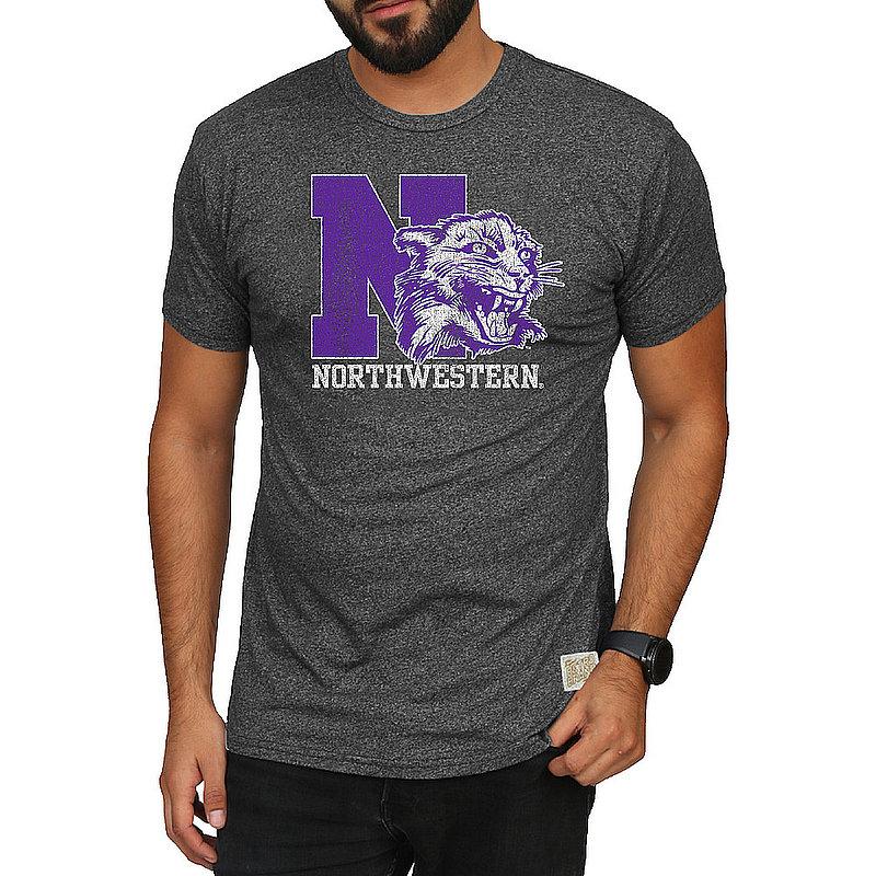 Northwestern Wildcats Retro Tshirt Charcoal CNWU100C_RB124M_MTCH-