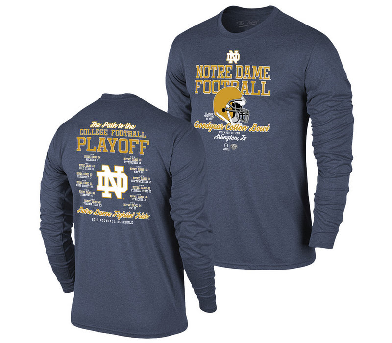 Notre Dame Fighting Irish College Football Playoffs Long Sleeve Tshirt 2018 Back VNO9281A