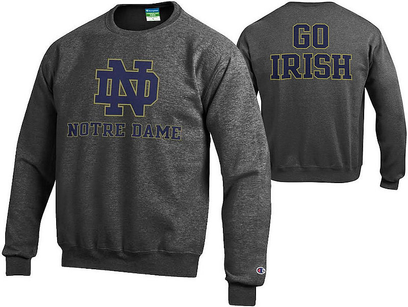 Notre Dame Fighting Irish Crewneck Sweatshirt Back Charcoal APC02928076/APC02928077