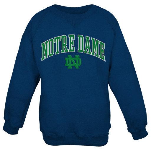 Notre Dame Fighting Irish Fleece Crew Sweatshirt Navy 409IB Notre Dame
