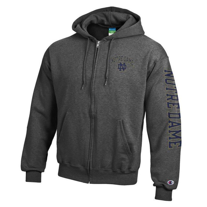 Notre Dame Fighting Irish Full Zip Hoodie Sweatshirt Letterman Charcoal APC02928078/APC02928079