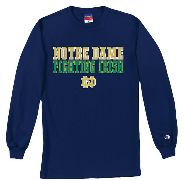 Notre Dame Fighting Irish Long Sleeve Shirt Fight Navy ND-8