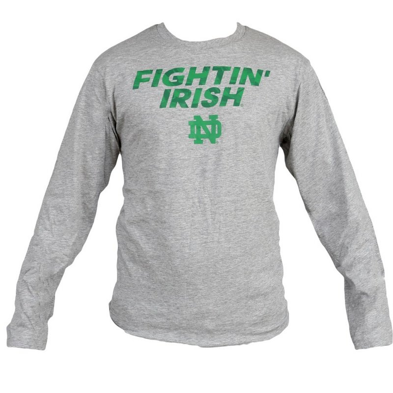 Notre Dame Fighting Irish Long Sleeve Team Trials TShirt Heather Gray K 40THS 97