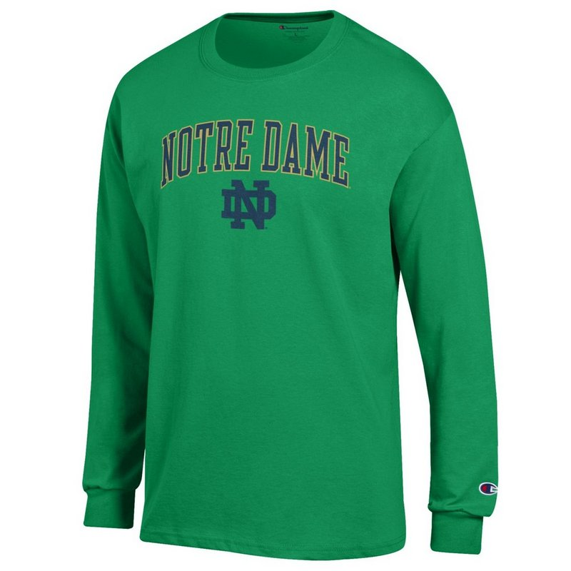 Notre Dame Fighting Irish Long Sleeve TShirt Arch Kelly Green APC02824663