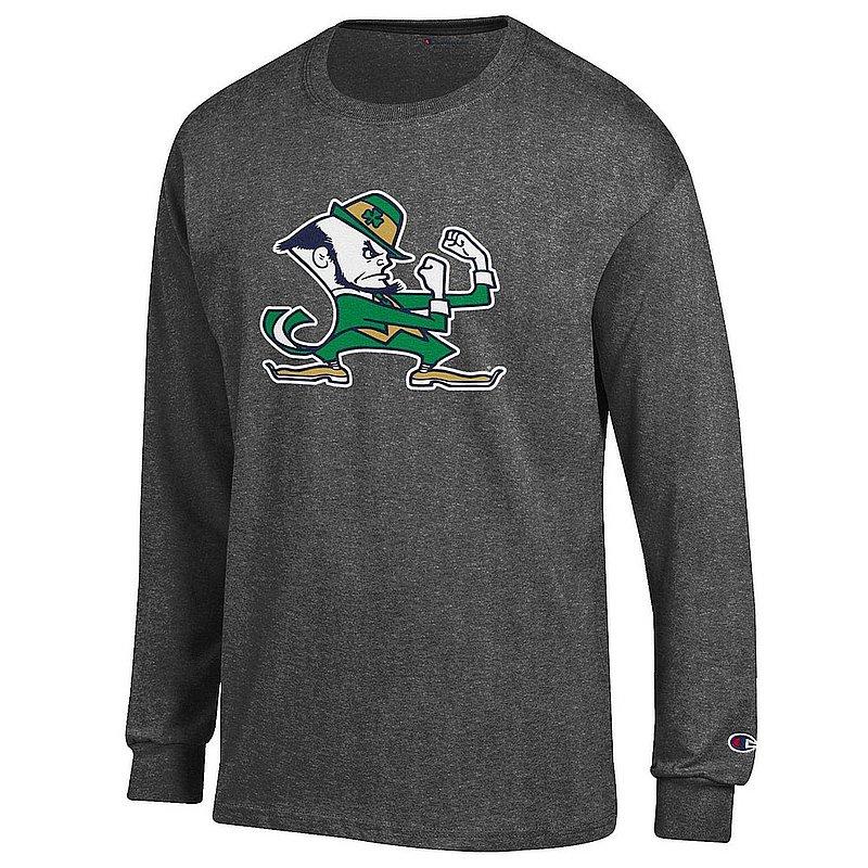 Notre Dame Fighting Irish Long Sleeve TShirt Leprechaun Charcoal APC03004698