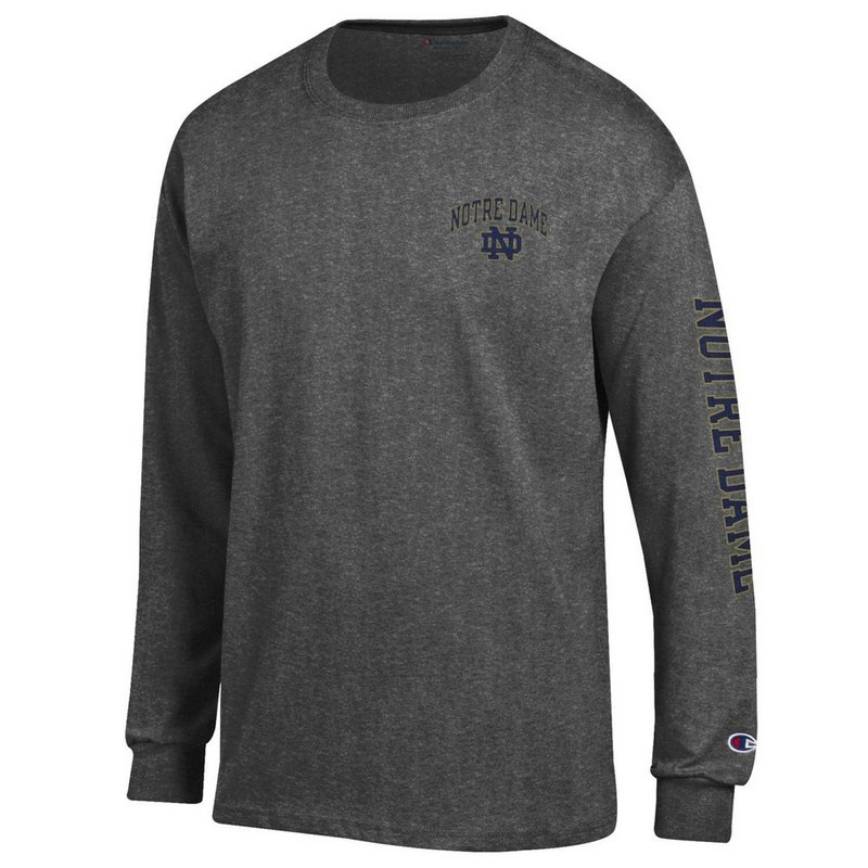 Notre Dame Fighting Irish Long Sleeve Tshirt Letterman Charcoal APC02928078/APC02928079