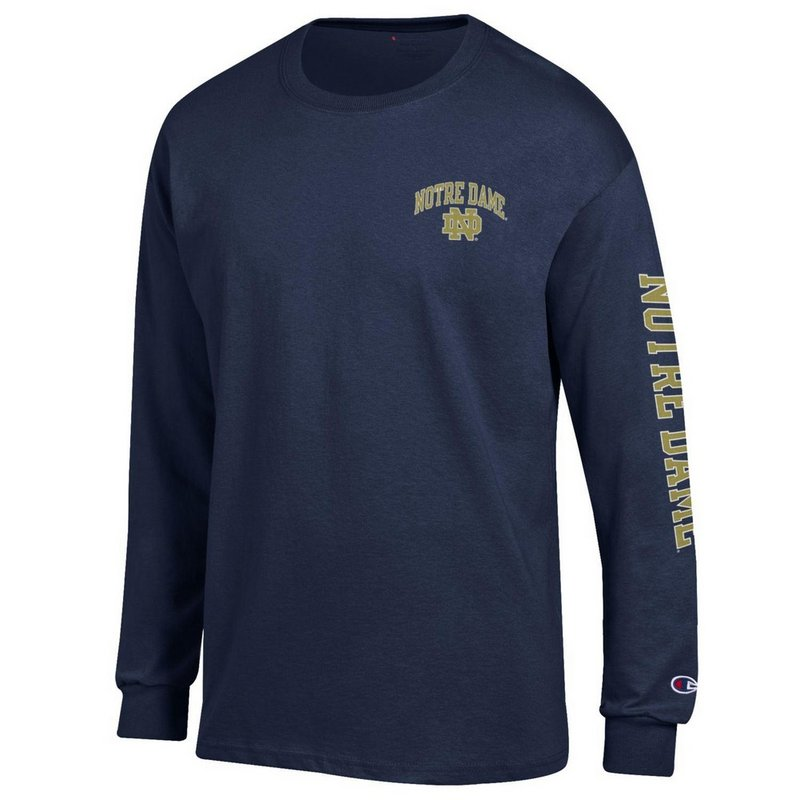 Notre Dame Fighting Irish Long Sleeve Tshirt Letterman Navy APC02928078/APC02928079