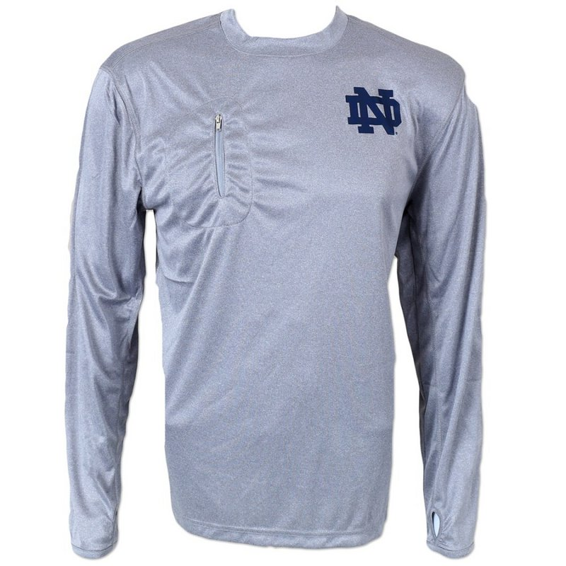 Notre Dame Fighting Irish Performance Long Sleeve TShirt H Gray 40NZM Notre Dame