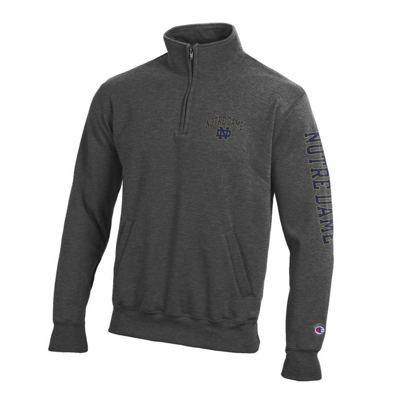 Notre Dame Fighting Irish Quarter Zip Sweatshirt Letterman Charcoal APC02928078/APC02928079