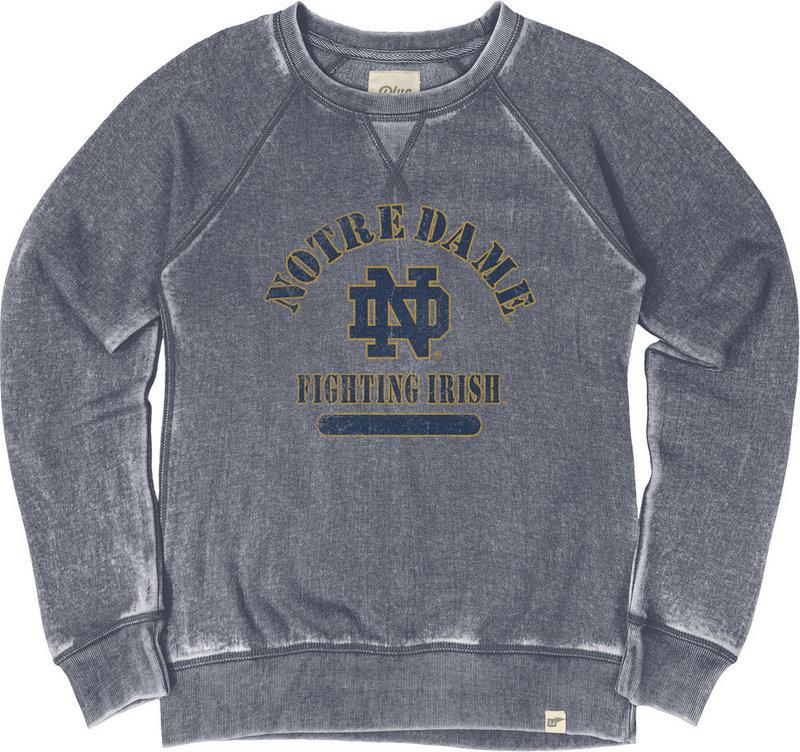 Notre Dame Fighting Irish Womens Burnout Crewneck Sweatshirt Vintage