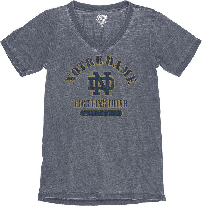 Notre Dame Fighting Irish Womens Burnout TShirt Vintage S7KS_JBWVT_NAVY