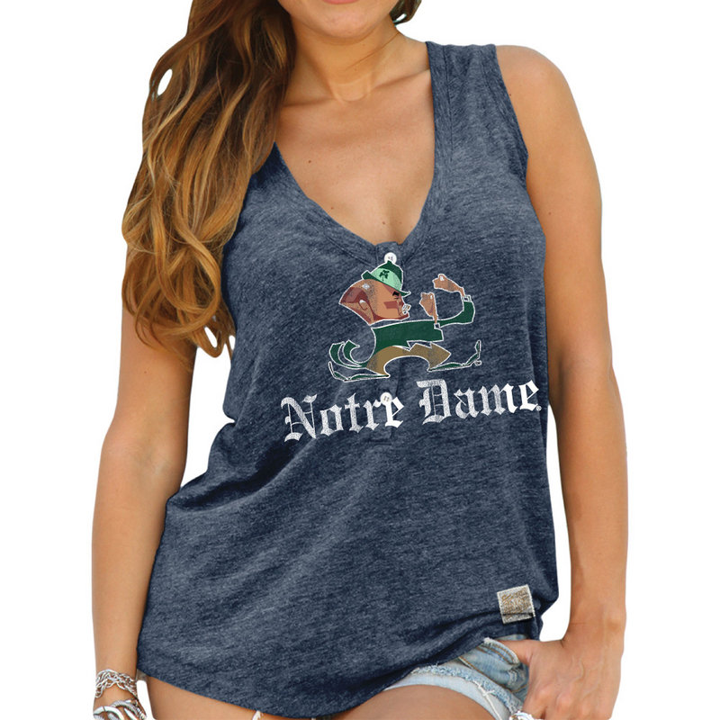 Notre Dame Fighting Irish Womens Relaxed Henley Tank Top RB1710_CNOT183B_STN